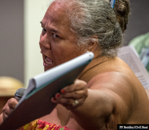 Leona Kalima at the Honolulu hearing. Photo: Civil Beat.